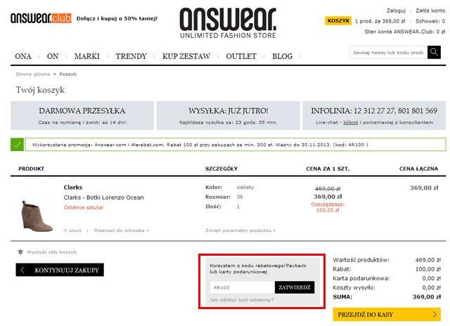 ANSWEAR.com miejsce w którym należy wpisać kod kuponu promocyjnego