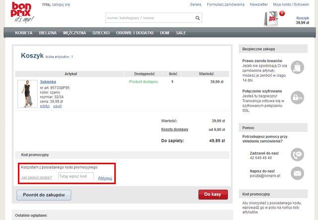 BonPrix.pl miejsce w którym należy wpisać kod kuponu rabatowego