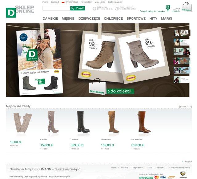 Deichmann storna główna sklepu internetowego - zrzut ekranu
