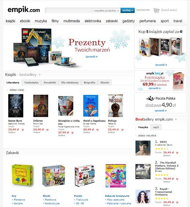 Sklep empik.com strona główna - zrzut ekranu