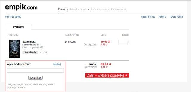 Empik.com miejsce w którym należy wpisać kod kuponu promocyjnego