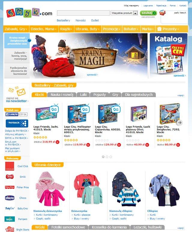 Smyk.com strona główna sklepu - zrzut ekranu