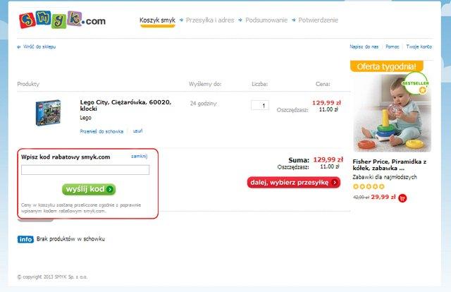 smyk.com miejsce w którym należy wpisać kod kuponu rabatowego aby uzyskać zniżkę na zakupy - zrzut ekranu