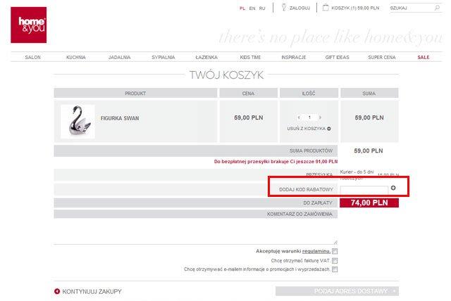 Home&You miejsce w którym musisz wpisać kod kuponu rabatowego aby uzyskać rabat - zrzut ekranu