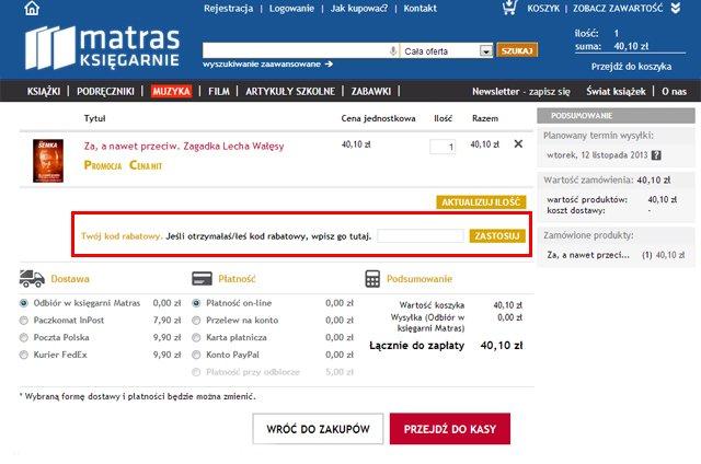 księgarnia matras.pl miejsce w którym powinieneś wpisać kod kuponu rabatowego aby uzyskać zniżkę - zrzut ekranu