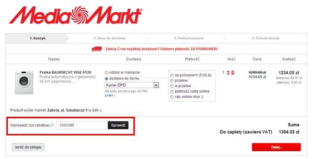 MediaMarkt.pl miejsce w którym należy wprowadzić kod kuponu rabatowego - zrzut ekranu