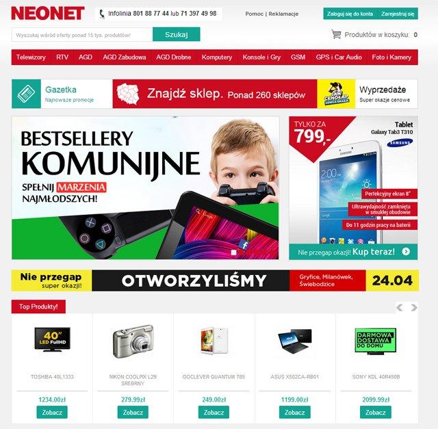 NEONET - strona główna sklepu zrzut ekranu