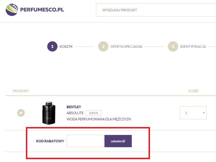 Perfumesco - tutaj wpisz kod rabatowy aby uzyskać zniżkę - zrzut ekranu