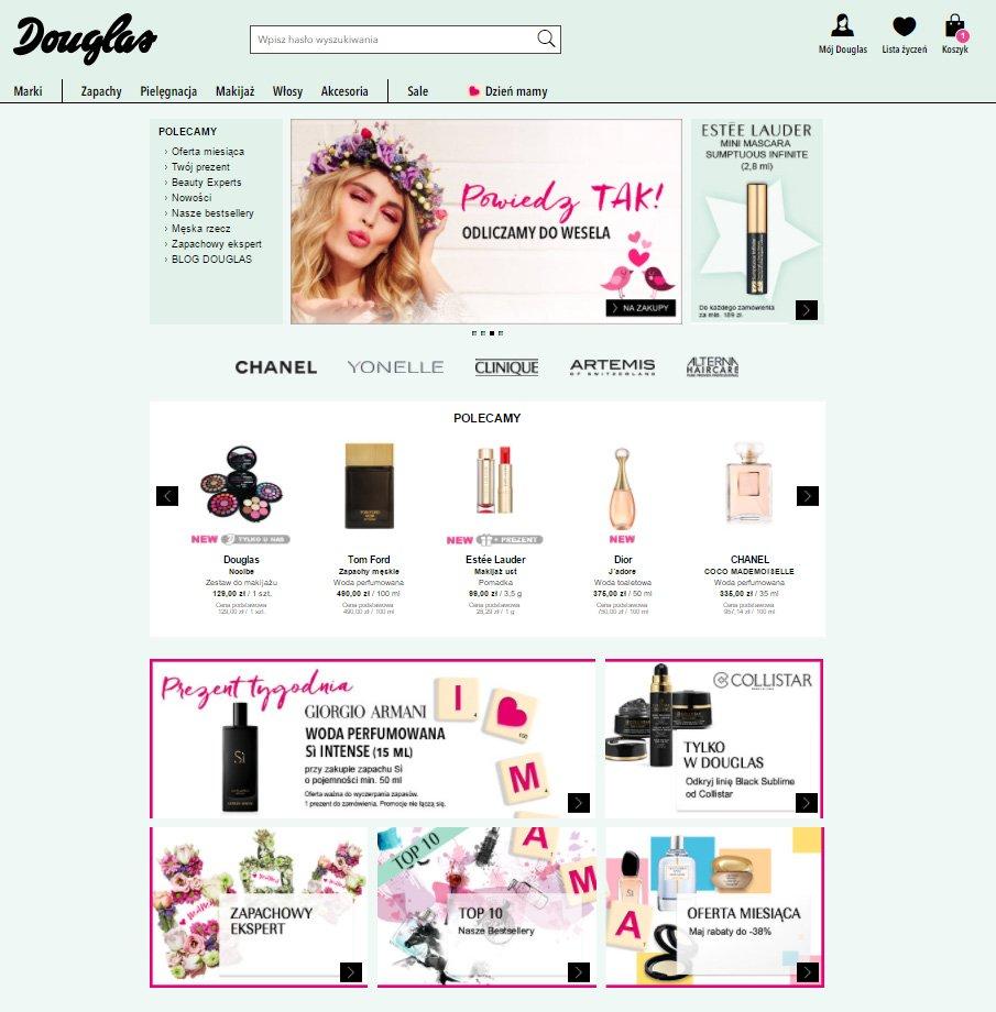 Sklep internetowy  Douglas.pl strona główna zrzut ekranu
