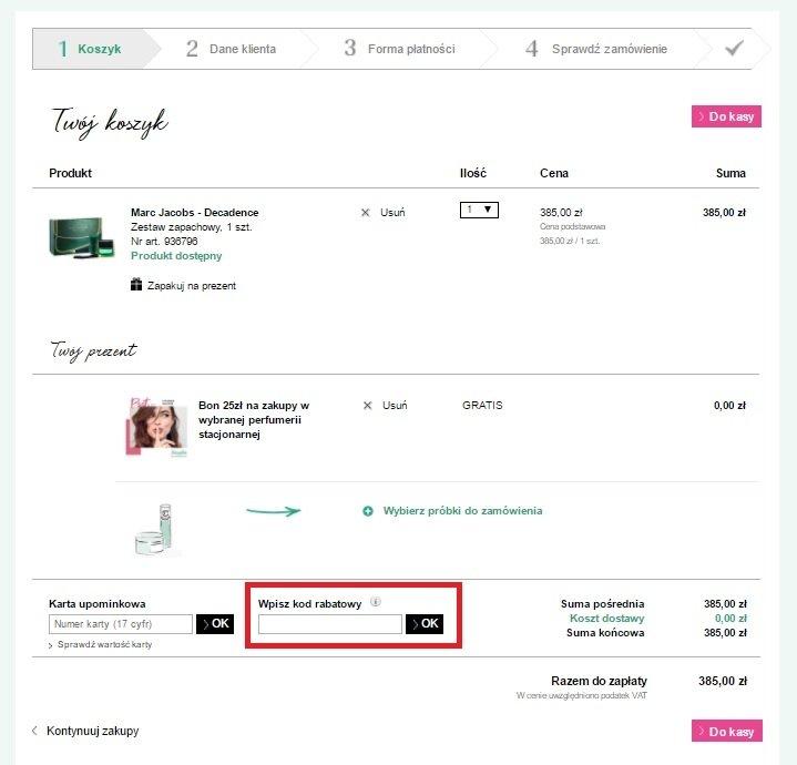 Sklep internetowy Douglas.pl miejsce w którym należy wpisać kod kuponu promocyjnego zrzut ekranu