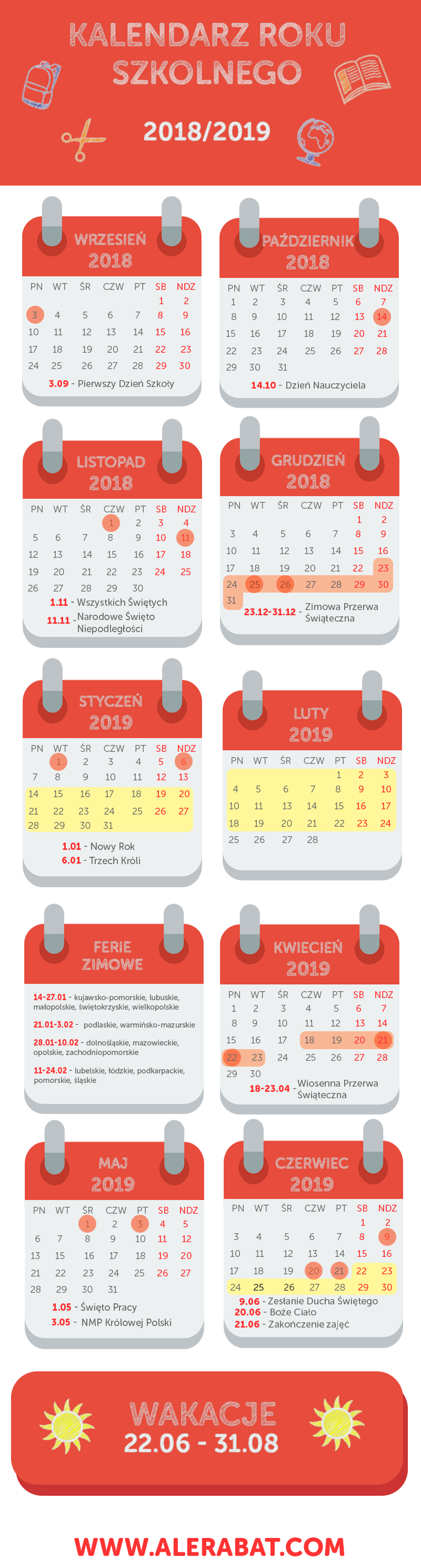 Infografika - kalendarz roku szkolnego 2018/2019