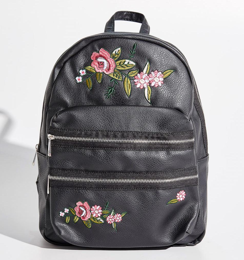 Modny plecak z kwiatowym haftem