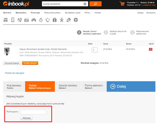 Tutaj wpisz kupon rabatowy inbook - zrzut ekranu koszyka sklepu