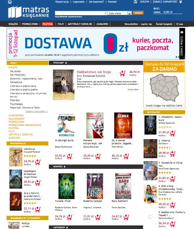 Księgarnia matras.pl strona główna - zrzut ekranu
