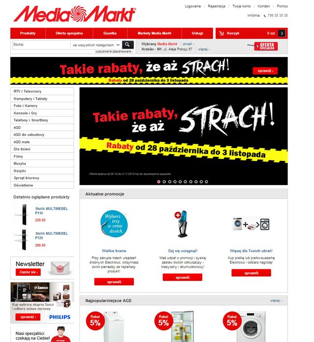 MediaMarkt.pl strona główna zrzut ekranu