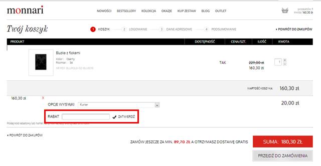 monnari jeśli chcesz uzyskać zniżkę w tym miejscu wpisz kod kuponu rabatowego - monnari.pl zrzut ekranu