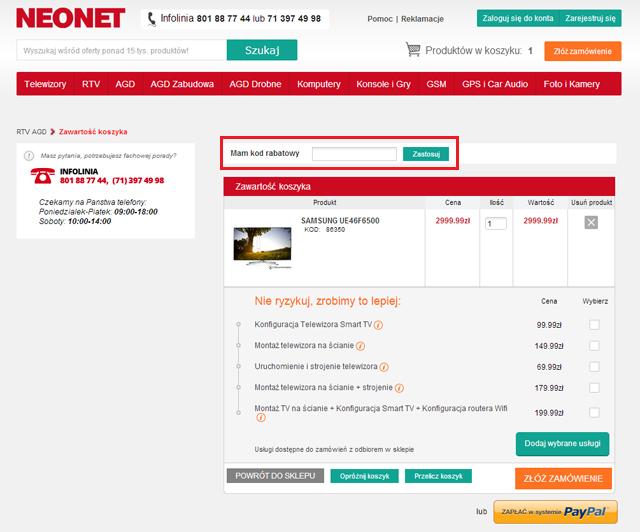 NEONET - masz kod rabatowy, wpisz go tutaj - zrzut ekranu
