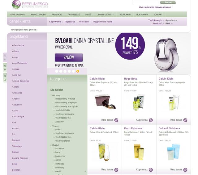 Perfumesco - strona główna sklepu - zrzut ekranu