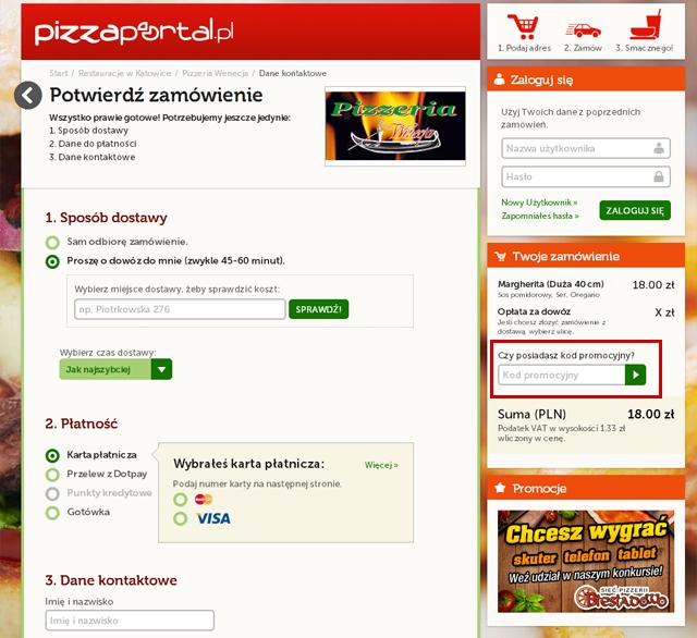 Miejsce w któerym powinieneś wpisać kod kuponu promocyjnego aby uzyskac znikę na zamówienie- zrzut ekranu  PizzaPortal.pl