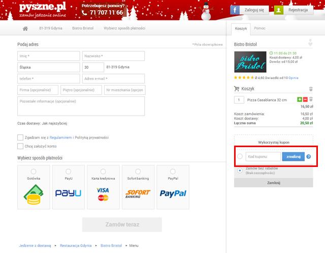 Pyszne.pl tutaj wpisz kod kuponu promocyjnego aby uzyskać rabat. - zrzut ekranu