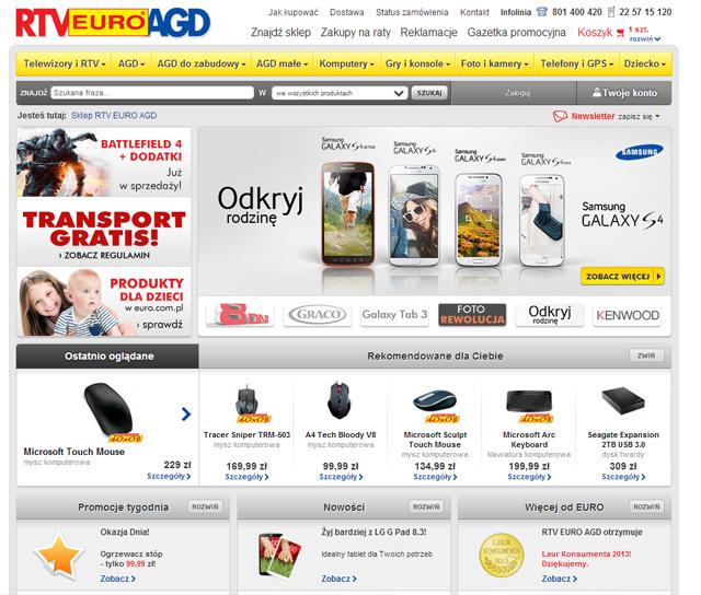 RTV EURO AGD - euro.com.pl strona główna zrzut ekranu
