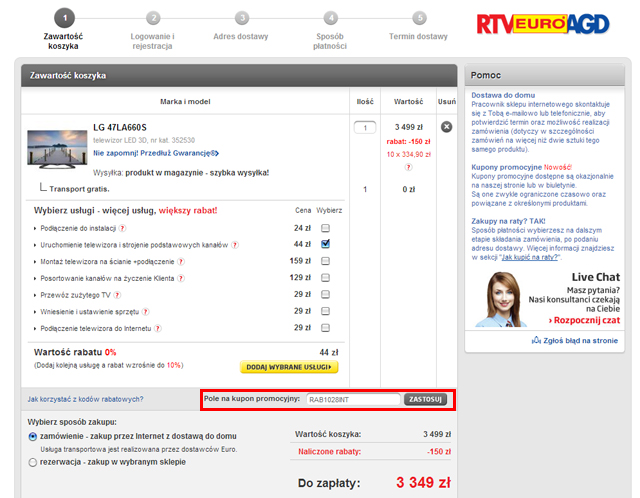 Sklep RTV EURO AGD - euro.com.pl miejsce w którym należy wpisać kod kuponu promocyjnego