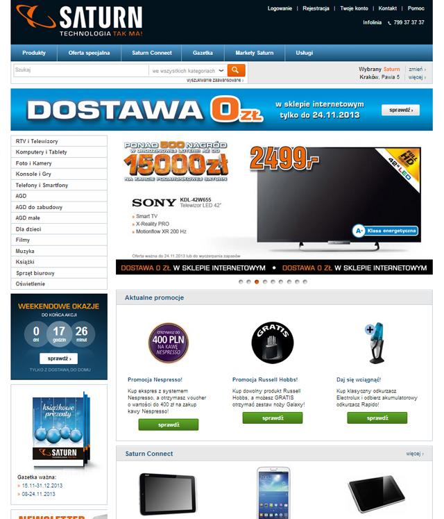 Saturn.pl storna główna sklepu - zrzut ekranu