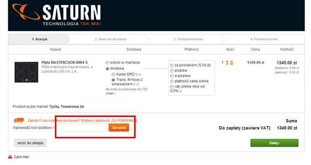 Tutaj należy wpisać kod rabatowy aby uzyskać zniżkę - zrzut ekranu saturn.pl