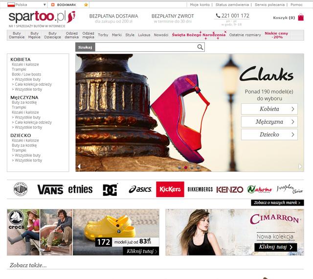Sklep internetowy spartoo.pl strona główna - zrzut ekranu