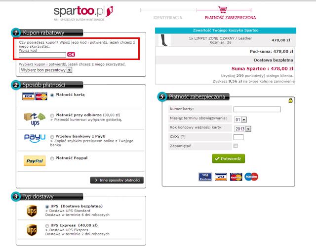 Sklep internetowy spartoo.pl miejsce w którym powinieneś wpisać kod kuponu rabatowego aby uzyskać zniżkę - zrzut ekranu